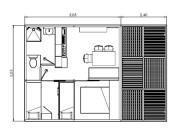 Plan Chalet Le Cosy Jungle 5 pers Climatisé + TV 25 m²