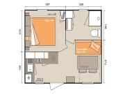 Plan Mobil Home Caseta 2/4 personnes TV 17 m²